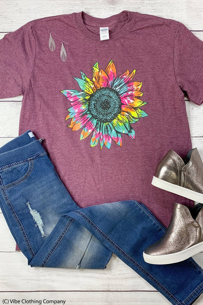 Tie Dye Sunflower Graphic Tee graphic tees Mark tee Small Maroon