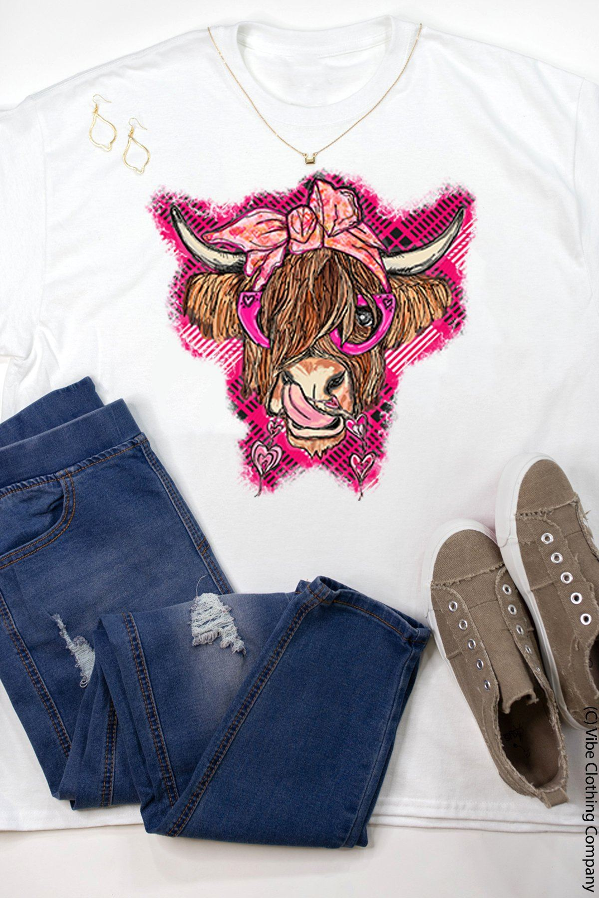 Uptown Heifer Graphic Tee graphic tees Mark tee 2X White