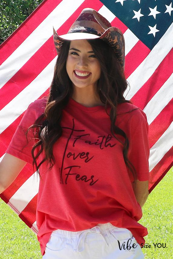 Faith > Fear Graphic Tee graphic tees Mark tee Medium Soft Red