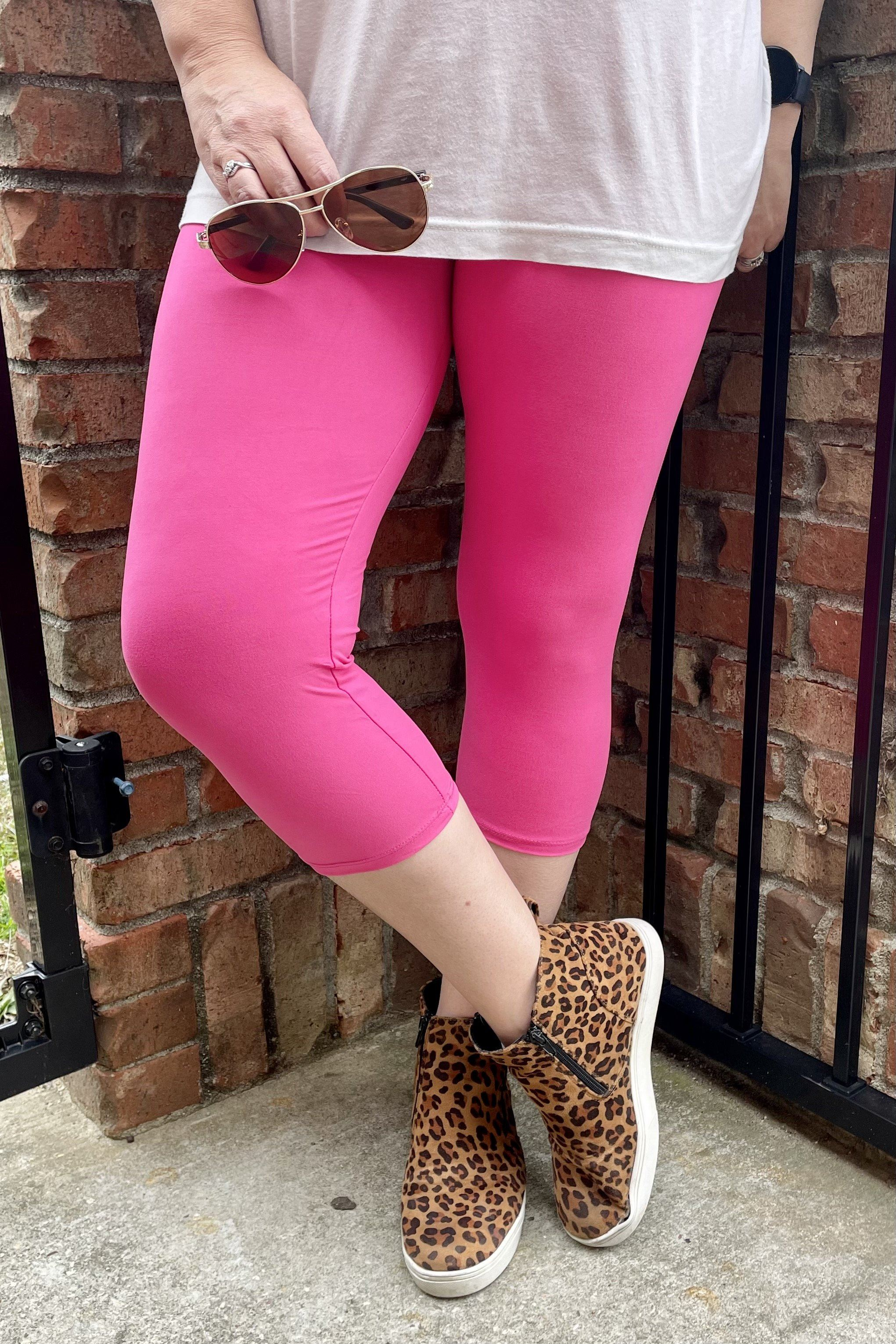 Hot Pink Yoga Cropped Leggings BASICS 2ne1