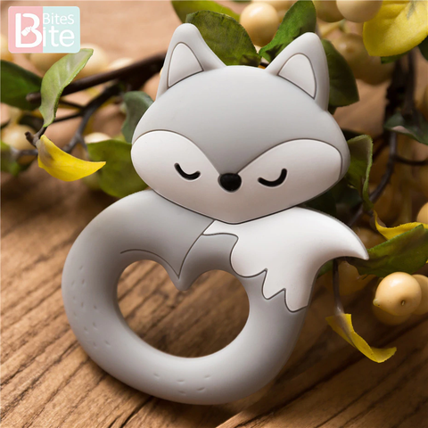 Bite Bites 6PC Fox Silicone Teether Pendant For Pacifier Baby Product Food Grade