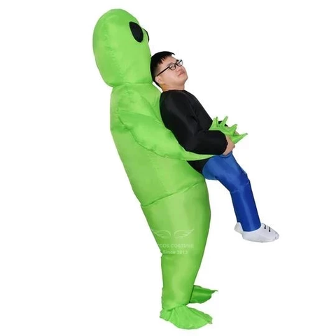 H1 Green Alien Carrying Human Costume