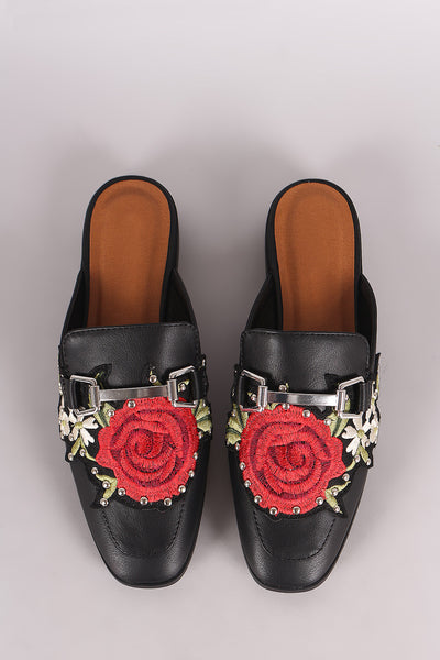 City Classified Studded Floral Applique Horsebit Slip-On Mule Flat