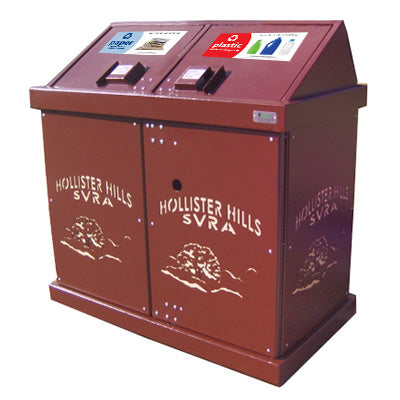BearSaver - HA Series Double Trash/Recycling Enclosure with Laser Cut Graphics, ADA Compliant  - HA2-PH