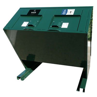 BearSaver - Hid-A-Bag Double Trash /Recycling Enclosure, ADA Compliant, 140 gal  - HB2-UPX
