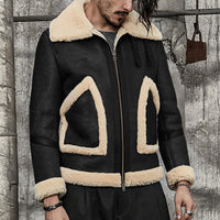 Men's Large Lapel Thick Warm Faux Leather Shearling Coat Jacket