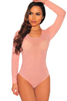 Pink Long Sleeve Sheer Mesh Bodysuit
