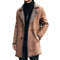Men's Mid Long Winter Faux Chamois Leather Lamb Fur Trench Coat Thick Warm Suede Jacket