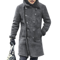 Men's Mid Long Faux Leather Lamb Wool Double Breasted Slits Design Suede Jacket