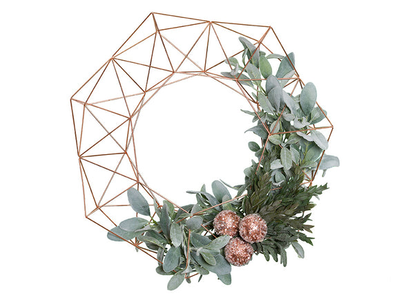 Geometric Holiday Wreath - Rose Gold - 24""