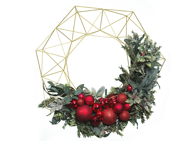 XL Geometric Holiday Wreath - Brass/Gold - 28.5""