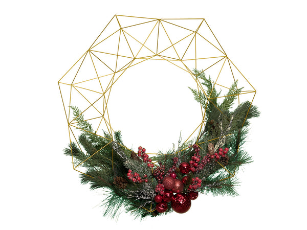 "36"" XXL Geometric Wreath - Brass/Gold Metal"