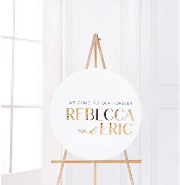 "Large Round Wedding Signs - 17"" or 24"" - Modern Welcome Signs - Circular"