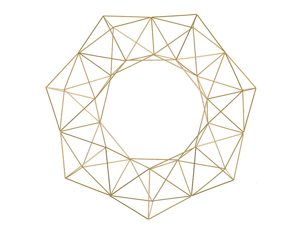 "24"" Geometric Wreath - Brass/Gold Metal"