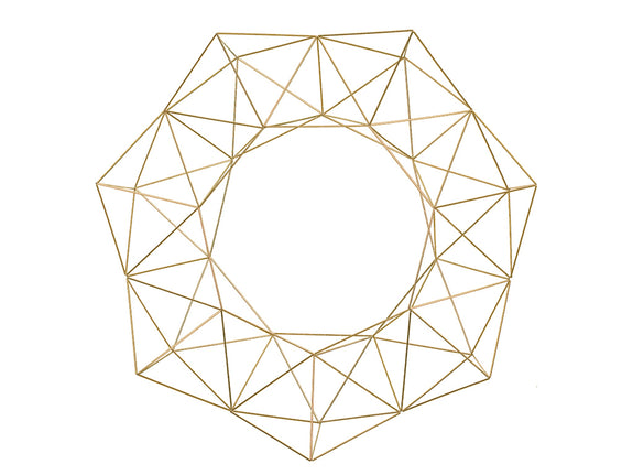 "28.5"" XL Geometric Wreath - Brass/Gold Metal"