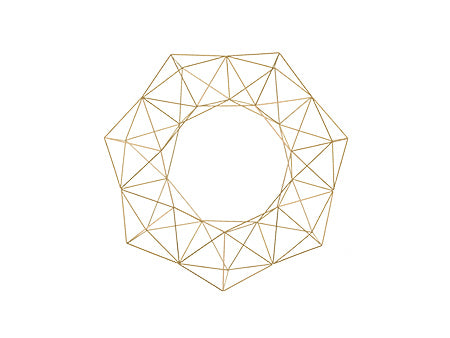 Geometric Holiday Wreath - Brass/Gold - 16.5""