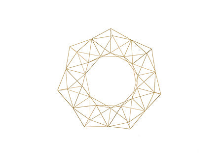 Geometric Holiday Wreath - Brass/Gold - 14.5""