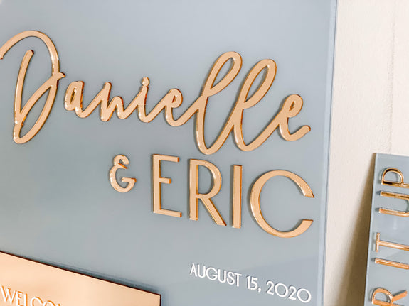 Custom Wedding Signage - Welcome Sign Set and Drink Menu and Signature Drink Set - Custom Color Matching - 2D lettering - Modern Glamorous