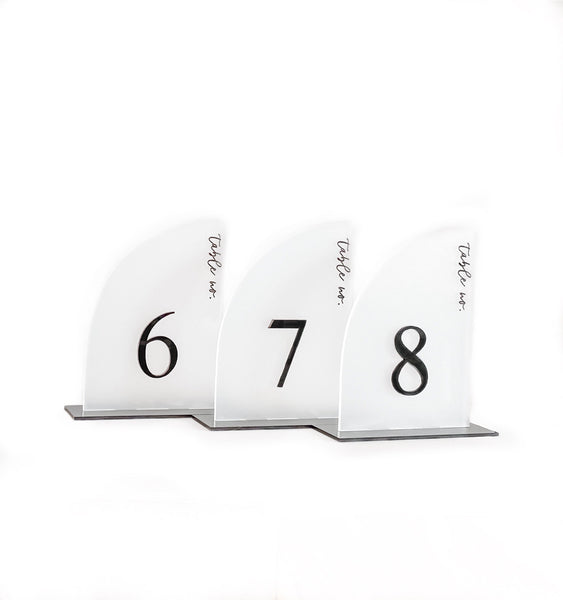 Modern Curved Acrylic Table Number - frosted Acrylic - Laser Cut and Engraved - Customizable, Wedding Table Number Sign