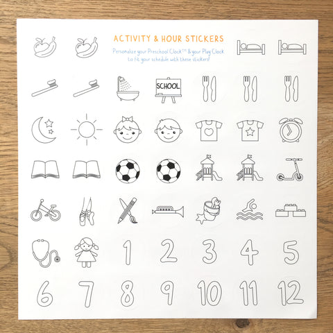 Activity & hour figures stickers - Preschool Watch & Clock - Preschool Collection