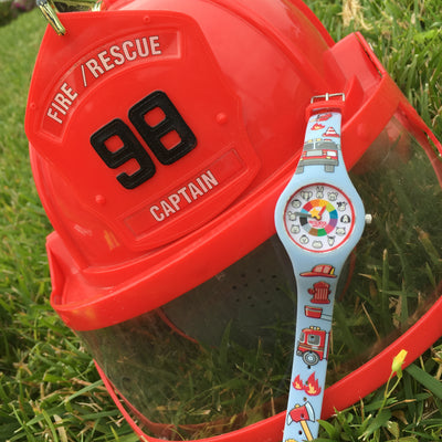 Firefighter Preschool Watch Fire truck - Toddler & Kids time teaching watch - Preschool Collection