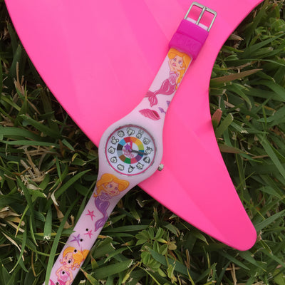 Mermaid Tail Silicone Preschool Watch - Toddler & Kids Time Teaching Watch - Preschool Collection