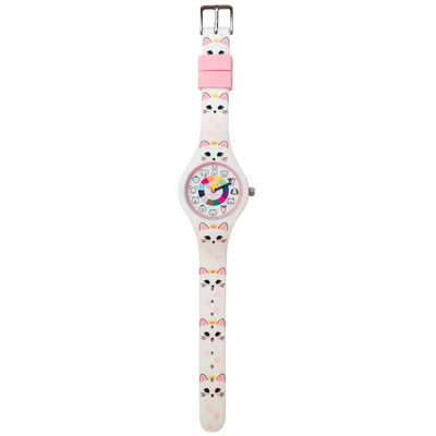 Kitty Silicone Preschool Watch Flat - Toddler & Kids Time Teaching Watch - Preschool Collection