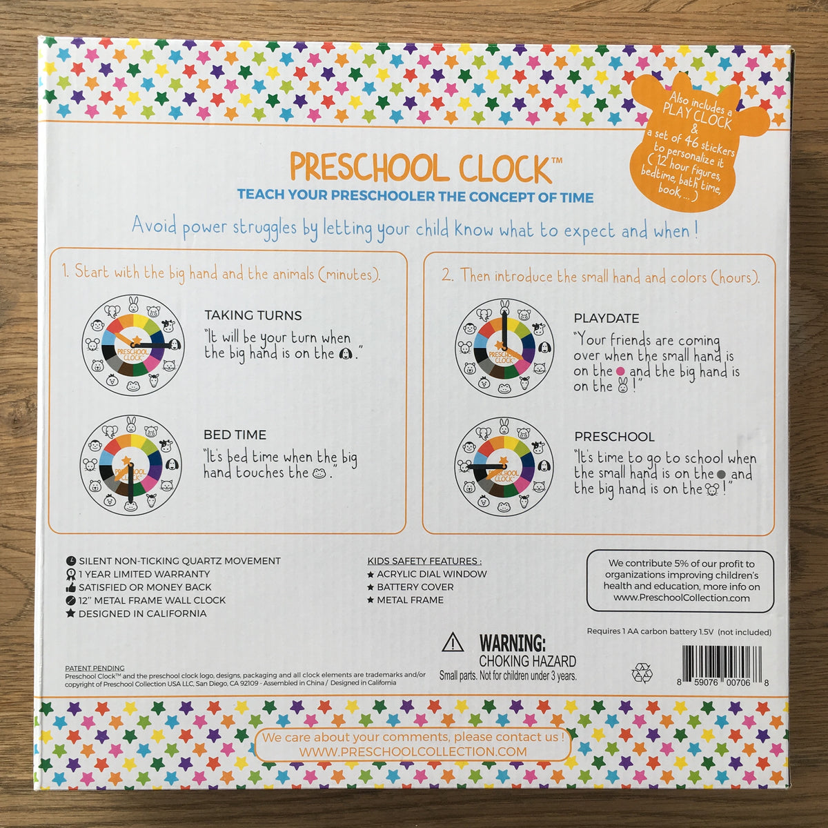 Packaging Back Preschool Wall Clock - Time Learning Clock - Preschool Collection