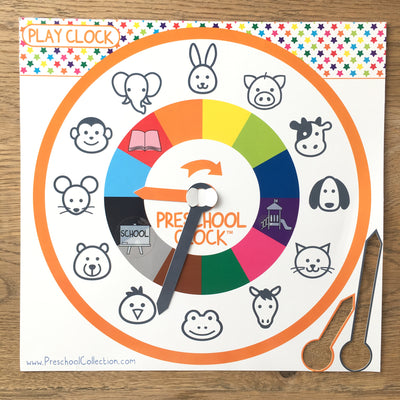 Play Clock - Time Learning Clock - Preschool Clock - Preschool Collection