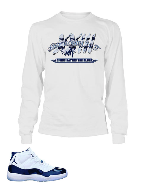 Graphic T Shirt to Match Retro Air Jordan 11 UNC Shoe