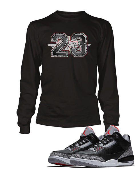 pretty nice 05b50 a3d66 23 Graphic T Shirt to Match Retro Air Jordan 3 Black Cement Shoe