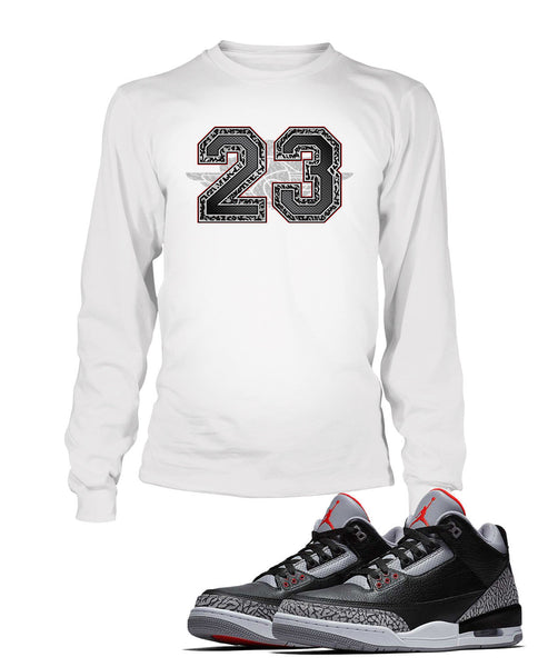 23 Graphic T Shirt to Match Retro Air Jordan 3 Black Cement Shoe