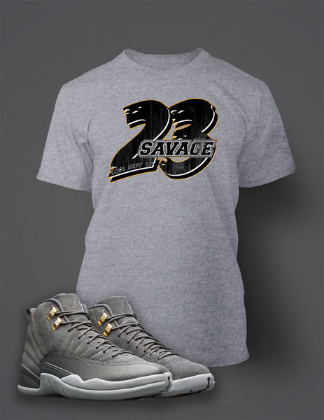 Graphic 23 Savage T Shirt to Match Retro Air Jordan 12 Cool Grey Shoe