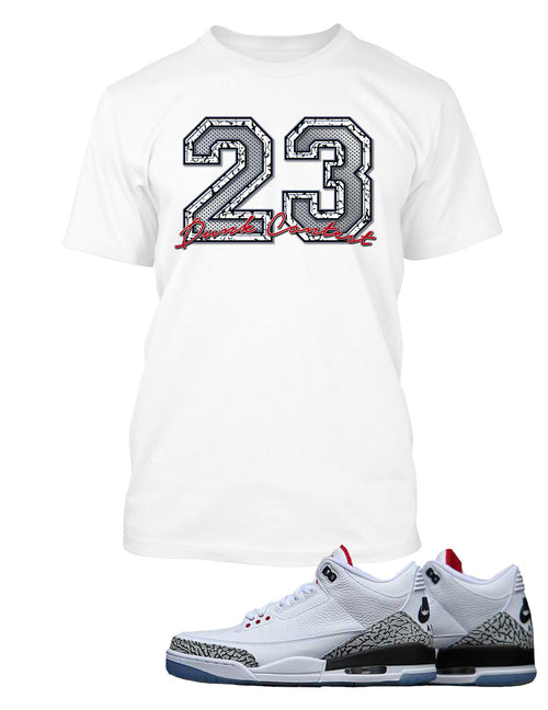 23 Dunk Contest Graphic T Shirt to Match Retro Air Jordan 3 Black Cement Shoe