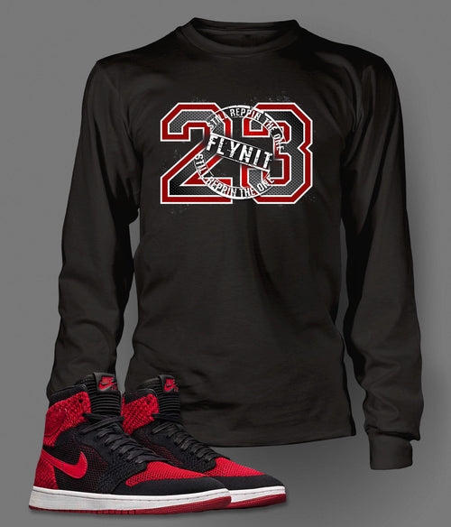 New Long Sleeve Graphic 23 T-Shirt To Match Retro Air Jordan 1 Flynit Shoe