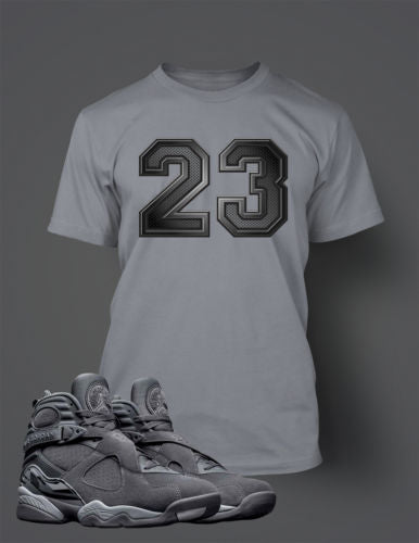 best sneakers ad338 6a2fb Graphic 23 T Shirt to Match Retro Air Jordan 8 Cool Grey Shoe – Vegas Big  and Tall