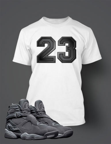 Graphic 23 T Shirt to Match Retro Air Jordan 8 Cool Grey Shoe
