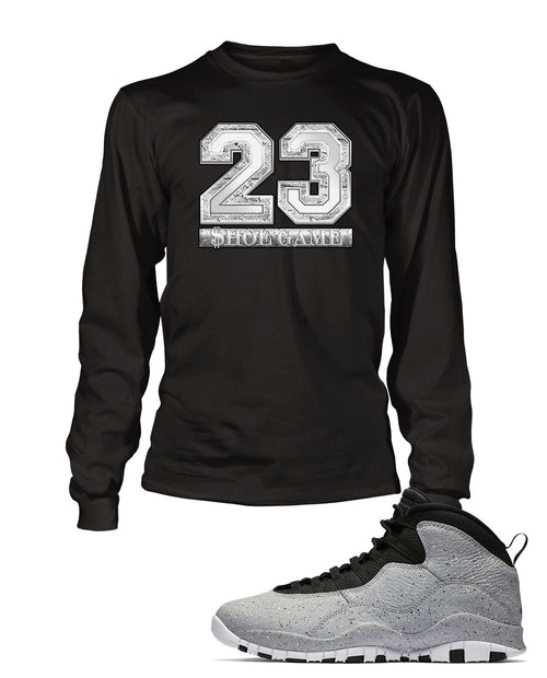 New 23 Graphic T Shirt to Match Retro Air Jordan 10 Light Smoke Shoe