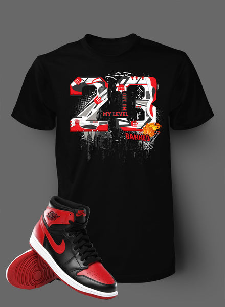 3e066c825422 Graphic Shattered T Shirt To Match Retro Air Jordan 1 Banned Shoe – Vegas  Big and Tall