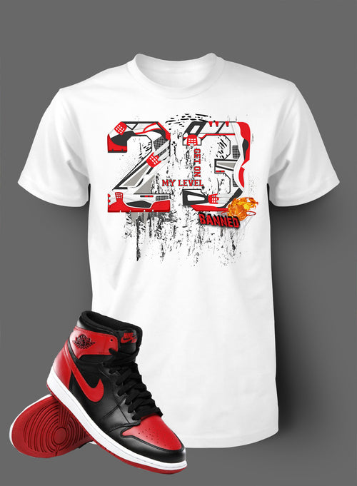 T Shirt To Match Retro Air Jordan 1 Shoe Banned Tee Shattered - Just Sneaker Tees - 2