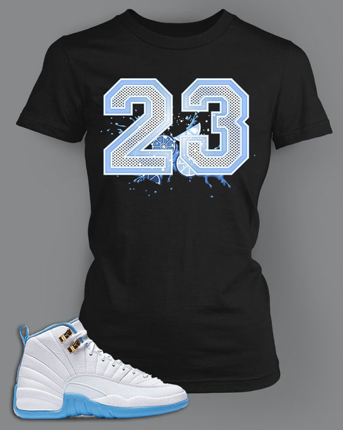 Womens T Shirt To Match Retro Air Jordan 12 Shoe Melo Tee - Just Sneaker Tees - 1
