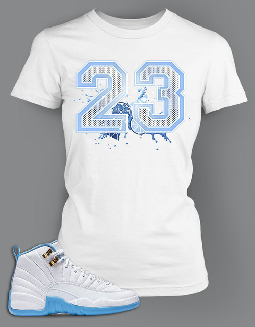 Womens T Shirt To Match Retro Air Jordan 12 Shoe Melo Tee - Just Sneaker Tees - 2