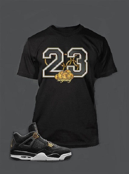 Golden Dollar Graphic T Shirt To Match Retro Air Jordan 4 Black Royalty Shoe