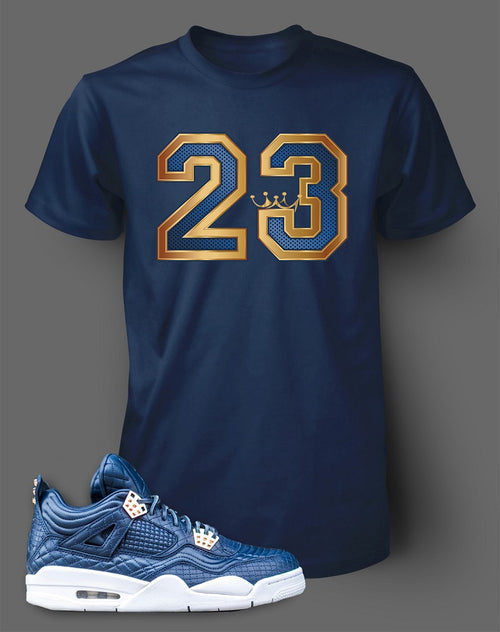 Navy Custom T Shirt To Match Air Jordan 4 Obsidian Shoe