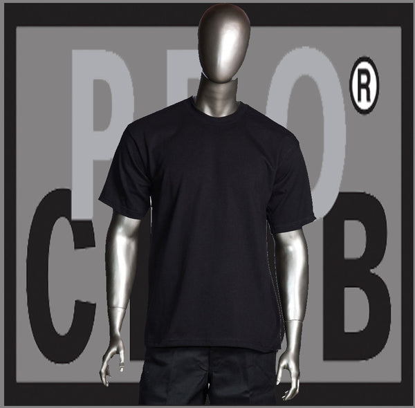 SHORT SLEEVE TEE CREW NECK Pro Club COMFORT T Shirt (Black) Small to 7XL - Just Sneaker Tees