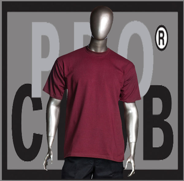 SHORT SLEEVE TEE CREW NECK Pro Club COMFORT T Shirt (Burgandy) Small to 7XL - Just Sneaker Tees