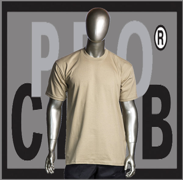 SHORT SLEEVE TEE CREW NECK Pro Club COMFORT T Shirt (Khaki) Small to 7XL - Just Sneaker Tees