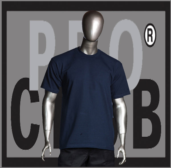 SHORT SLEEVE TEE CREW NECK Pro Club Heavyweight T Shirt (Navy) Small to 7XL Tall Sizes Too - Just Sneaker Tees - 1