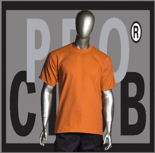 SHORT SLEEVE TEE CREW NECK Pro Club Heavyweight T Shirt (Orange) Small to 7XL Tall Sizes Too - Just Sneaker Tees - 1