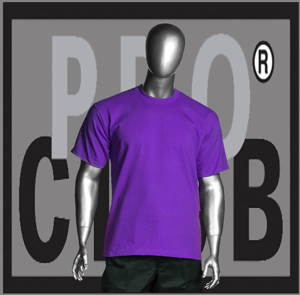 SHORT SLEEVE TEE CREW NECK Pro Club Heavyweight T Shirt (Purple) Small to 7XL Tall Sizes Too - Just Sneaker Tees - 1